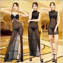Black Mesh See Through Sexy Maxi Dress Elegant Evening Spaghetti Strap Transparent Cheongsam Dress Deep V Sleeveless Split Hem цена и фото