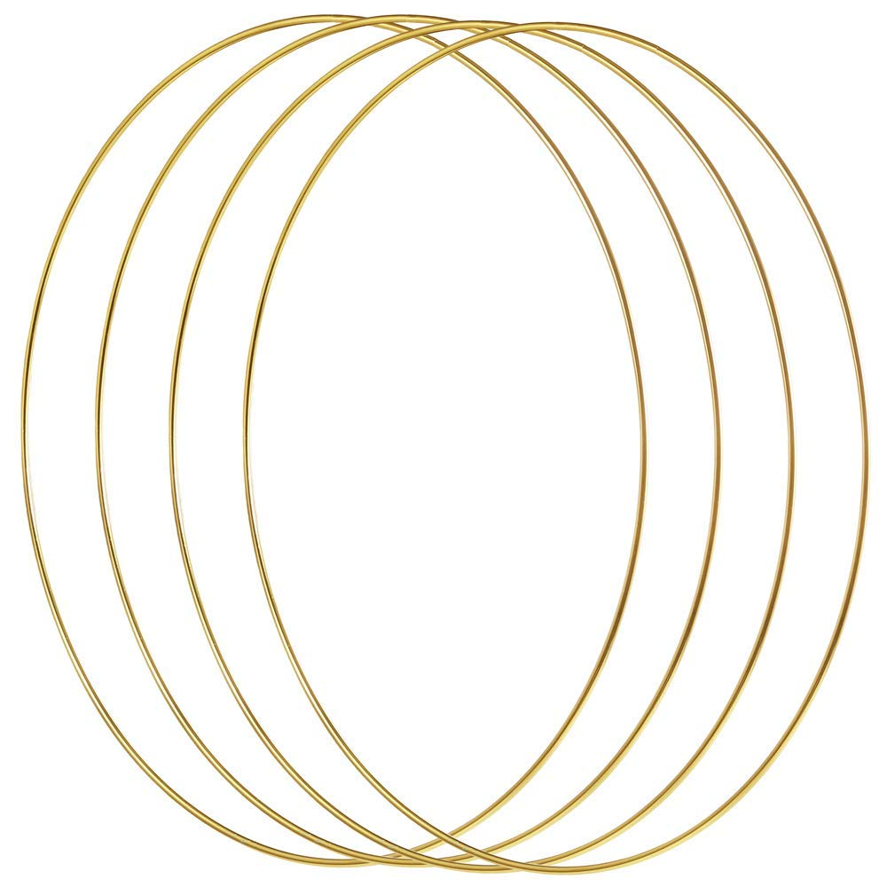 4 Pack 12 Inch Large Metal Floral Hoop Wreath Gold Hoop Rings For Making Wreath Decor And DIY Dream Catcher Wall Hanging Crafts