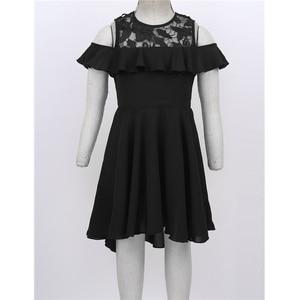 Image 2 - 膝丈レーススプライス高値安値裾フラワーガールのドレス子供フリルトリミングコールド肩ハイウエストの誕生日のドレス