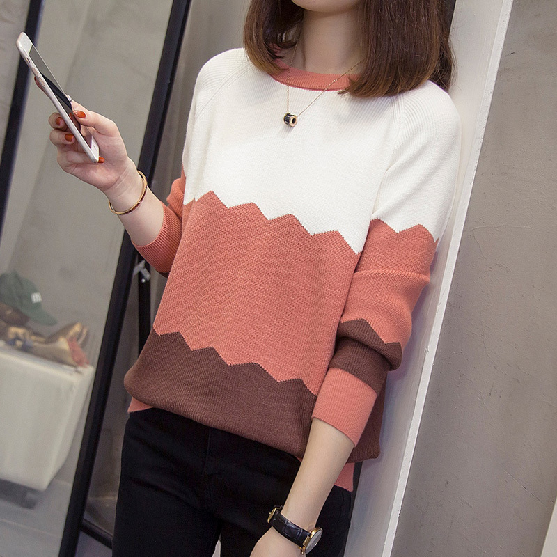 [Photo Shoot] 2019 Autumn And Winter New Style Pullover Knitting Shirt Long Sleeve Base Shirt Loose-Fit Sweater Women's 191 A Ge