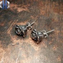 Original Handmade Dark Skull Death Rose Earrings 925 Creative