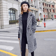 S-XXXL New Sweater Cardigan Coat Women Autumn and Winter 2019 Chic Plaid Slim Long Knitted Mohair Outerwear