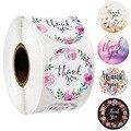 500 шт., наклейки с цветами, благодарим Вас, этикетки для печати, круглые цветные Цветочные наклейки, рулоны для рождественского подарка, деко...