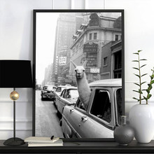 Funny Canvas Painting Alpaca Llama in a New York City Taxi Animal Prints ans Posters Wall Art Pictures for Kid Bedroom Dormitory
