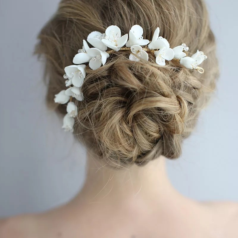 Flor de Porcelana Jóias para o Casamento Nupcial Longo Pente Cabelo Acessórios Artesanais Mulheres Coroa Moda Baile