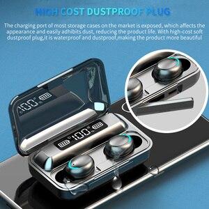 Image 2 - חדש F9 אלחוטי אוזניות TWS Bluetooth 5.0 אוזניות 8D HIFI סטריאו עמיד למים אוזניות אוזניות טעינת תיבת עם מיקרופון
