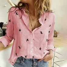 Kadınlar Casual bluz turn-aşağı yaka uzun kollu düğme baskı üstleri kadın giyim gömlek gevşek ofis bayan gömlek kadın