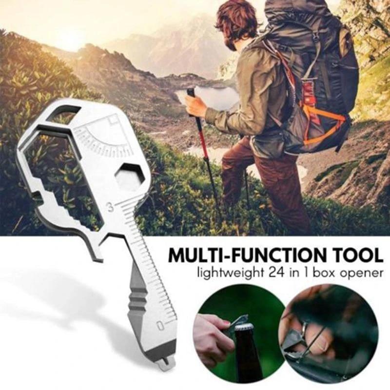 Stainless Steel Multi-Tool Key Shaped Pocket Tool for Keychain Bottle Opener