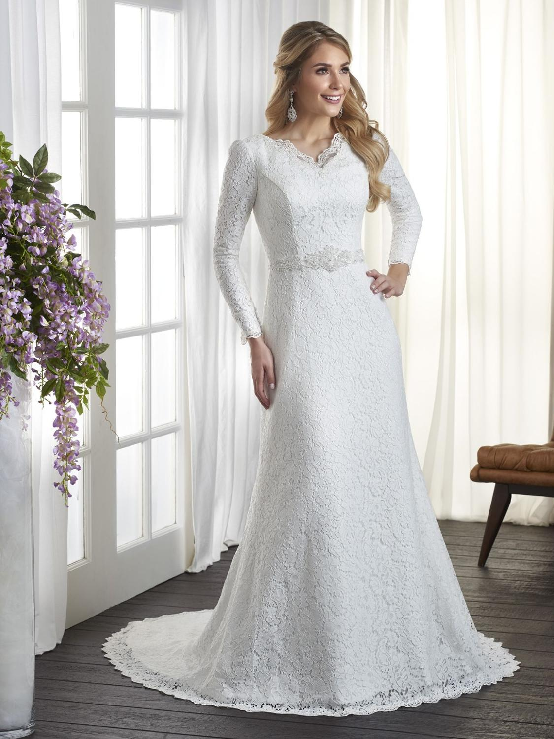 Vintage Lace Mermaid Modest Wedding Dresses With Long Sleeves V Neck Simple LDS Bridal Gowns Full Sleeves Custom Made