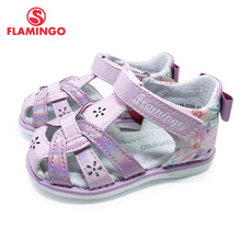 FLAMINGO kids sandals for girls Hook& Loop Flat Arched Design Chlid Casual Princess Shoes Size 22-27 For Girls 211S-Z6-2307/2308