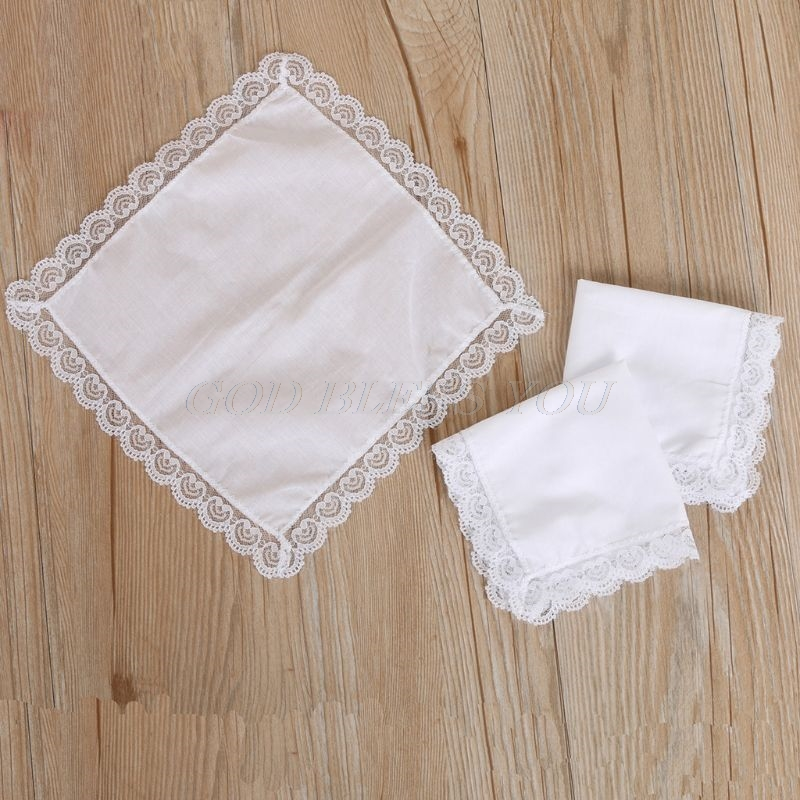 Cotton Lace Side Small Square Towel DIY Handmade White Handkerchiefs Hotel Tableware Decoration Facial Tissue