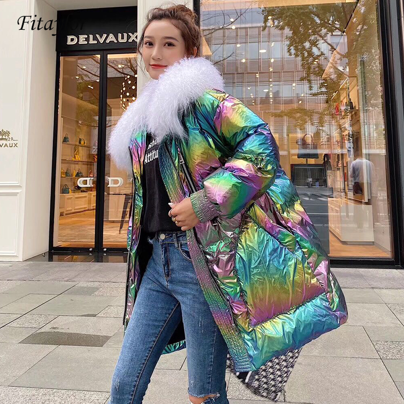 Fitaylor Real Natural Fur Down Parka Winter Jacket Women Thicken Hooded Coat Female White Duck Down Waterproof Snow Outwear