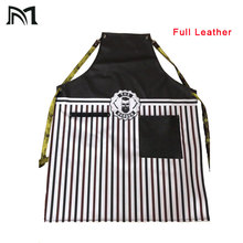 Full Leather Material hairdressing cape for Salon barber 65*86CM high quality black hairdresser apron waterproof