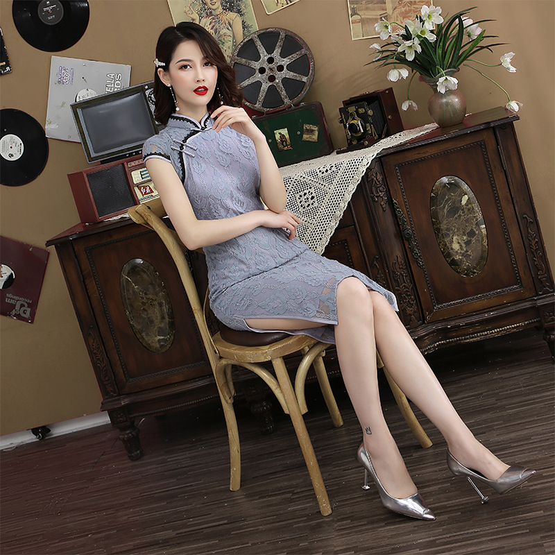 Gray Lace Embroidery Vintage Ladies Chinese Traditional Slim Qipao Classic Mandarin Collar Stage Show Elegant Female Cheongsam