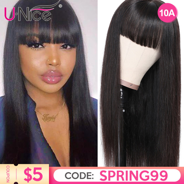 $ US $65.35 Unice Hair Chinese Bang Human Hair Wig Pre Plucked Straight Wigs For Women Glueless Transparent Lace Front Human Hair Wigs