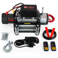 Electric Recovery Winch 12v 13500lbs Truck Trailer Rope Remote Control Heavy Duty Steel Cable with 4x4 Car