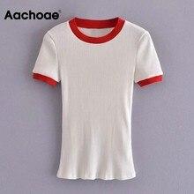 Aachoae femmes décontracté Patchwork tricoté T-shirt base O cou à manches courtes chemises d'été mince Femme T-Shirts hauts Femme Mode 2021