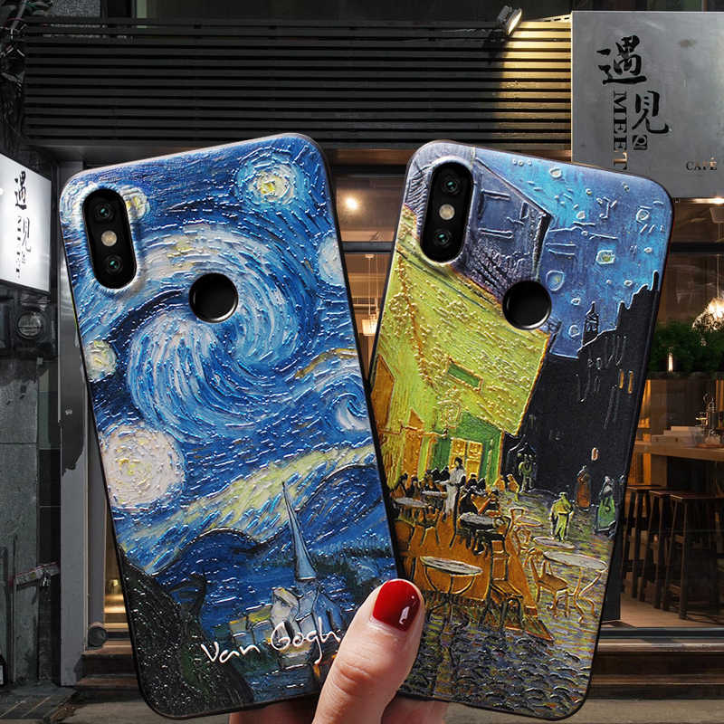 Funda Embossed Phone Cases For Xiaomi Redmi Note 8 7 pro lite 9 se Shockproof Silicone Soft TPU Van Gogh Starry sky Flower Coque