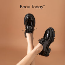 BeauToday Flat Platform Shoes Women Patent Leather Casual Flats Lace Up Round Toe Ladies Spring Derby Shoes Handmade 21856