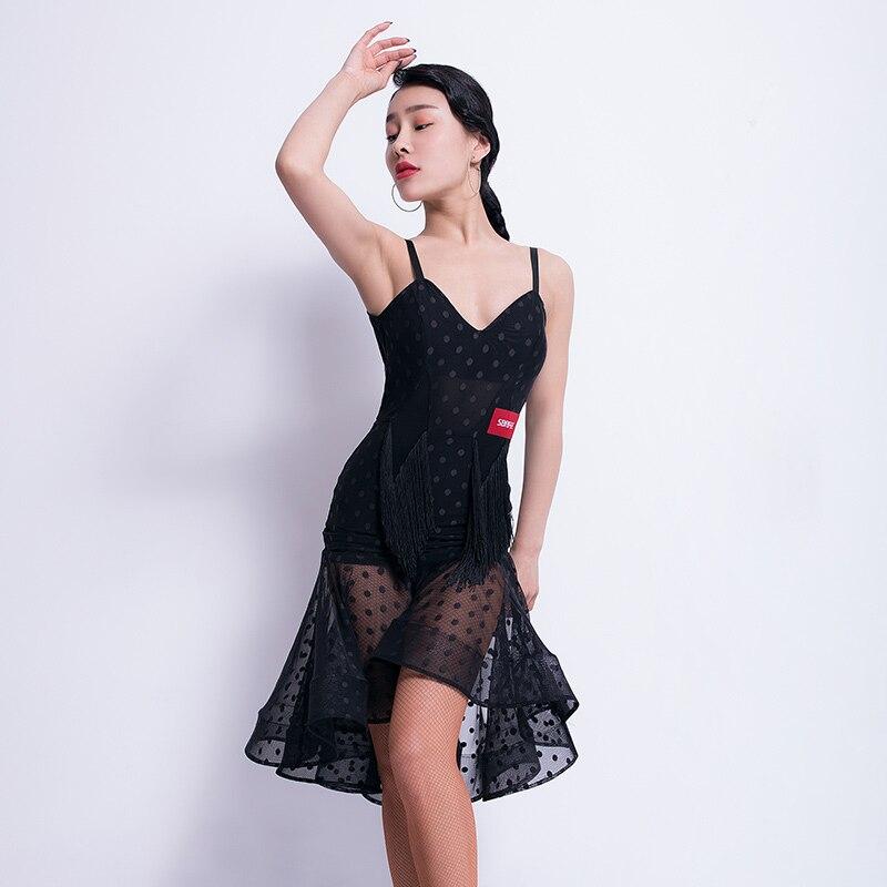 Sexy Latin Dance Dress Women Black Tango Salsa Cha Cha Fringe Practice Wear Samba Rumba Ballroom Performance Rave Outfit DF1607