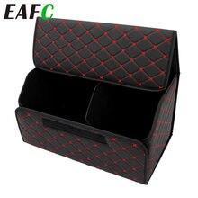 Caja de almacenamiento de maletero de coche de cuero plegable, bolsa de almacenamiento de carga a prueba de agua, organizador de remolque automático