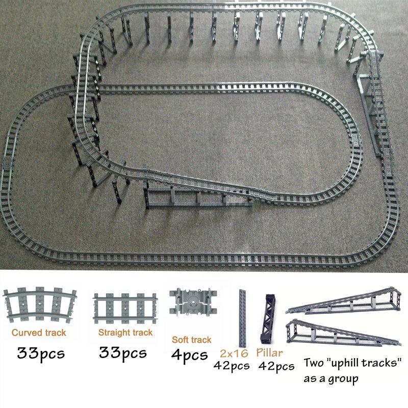 Гибкие треки для городского поезда, треиновые двухслойные рельсы, прямые изогнутые рельсы, совместимые с конструктором lego
