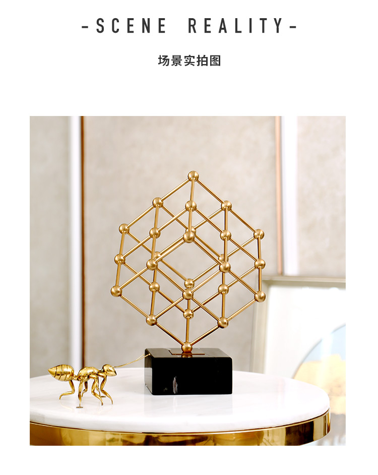 Creative Nordic metal geometric abstract Crafts ornaments Gold Modern home desktop decoration miniature figurines accessories