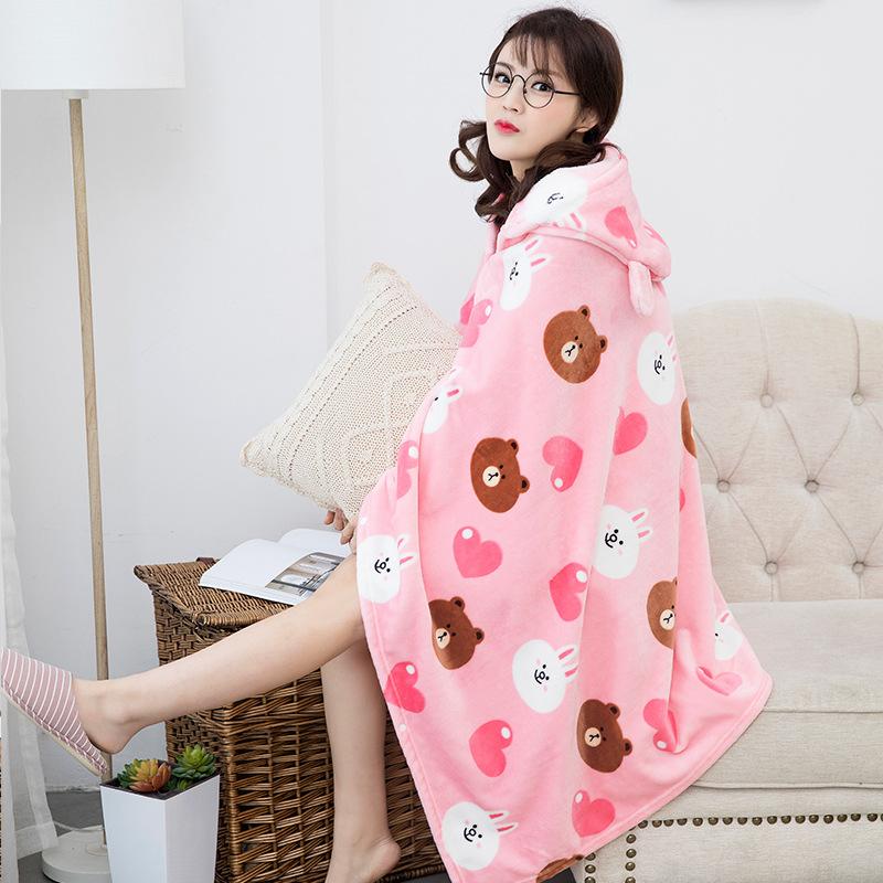 Winter Thick Comfy Hooded Cartoon Blanket Sweatshirt Soft Warm Throw TV Hoodie Blankets Fleece Blanket Adult for Sofa Beds Kids 5