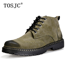 TOSJC Winter Mens Fur Ankle Boots Warm Anti-Skid Snow Boots Vintage Cowboy Boots for Male Fashion Plush Boots Brogue Work Shoes women winter walking boots ladies snow boots waterproof anti skid skiing shoes women snow shoes outdoor trekking boots for 40c