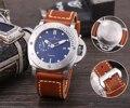 Luxus Marke Neue Männer Automatische Mechanische Sapphire Edelstahl Volle Silber Schwarz Leder Uhr Leucht LE Manuelle 47mm AAA +