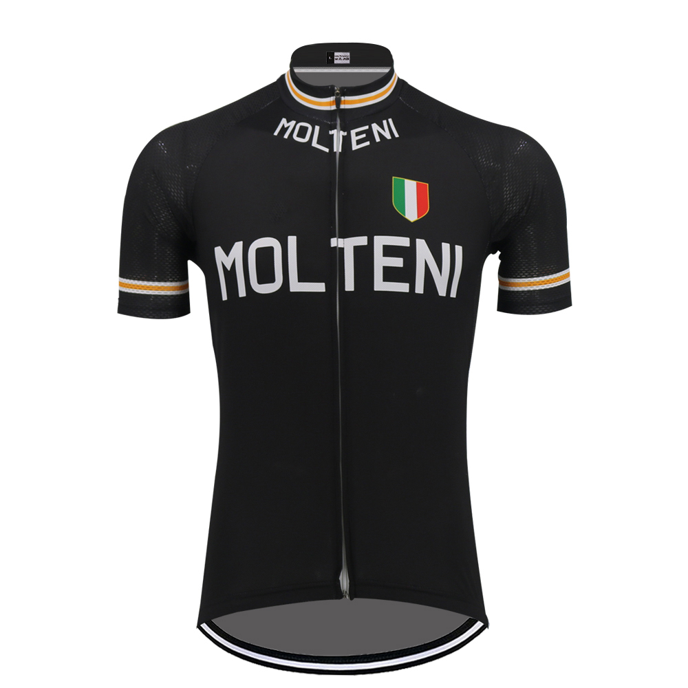 Black MOLTENI cycling jersey mtb jersey ropa ciclismo go pro men short sleeve triathlon cycling clothing outdoor sports clothes