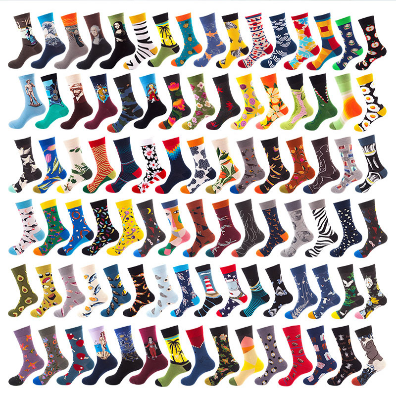 5Pairs/lot Cotton Socks Women Cartoon Animal Flower Fruits Art Oil Funny Happy Socks Men Mid Long Sock Harajuku Skateboard Socks