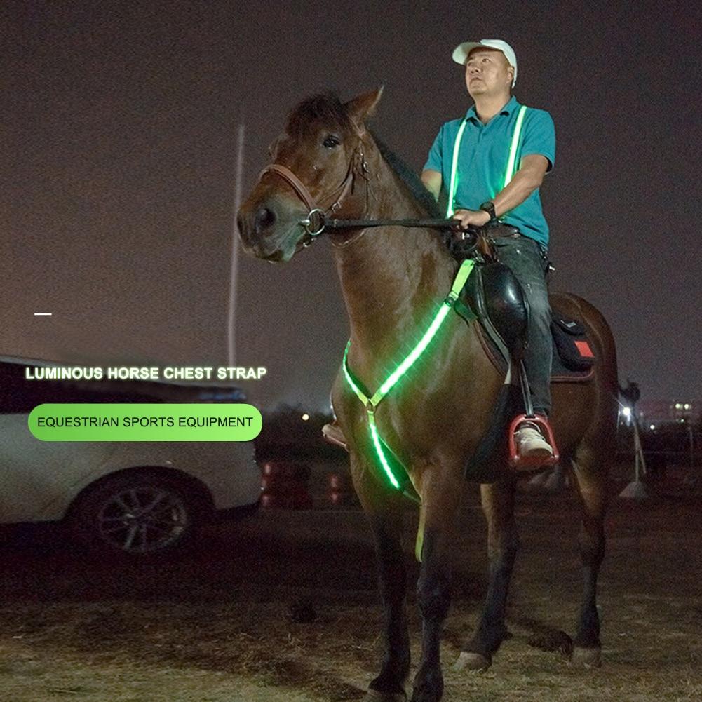 Adjustable Horse Harness LED Light Harness Nylon Chest Belt Horse Equipment Webbing Lights Night Safe Horse Riding Equipment