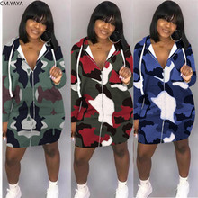 GL Women Fall Winter Mini Dress Full Sleeve Hooded Zipper Bodycon Sexy Club Night Party Lady Camouflage Dresses Vestidos H8896