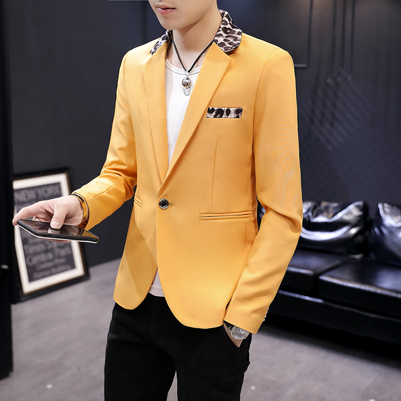 2020 Men's Casual Slim Single Thin Section Leopard Suit Young Handsome Stitching Collar Suit