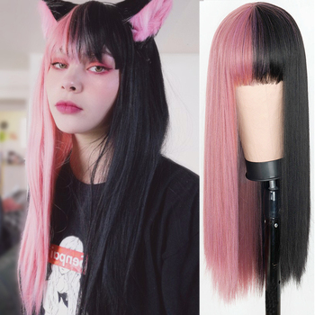 Pink and Black Wig Long Straight hair Cosplay Two Tone Ombre Color Women Synthetic Hair Wigs - discount item  49% OFF Synthetic Hair