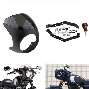 Universal Motorcycle 7inch Round Headlight Fairing Screen for Retro Cafe Racer Style Headlight Fairing Windshield Cover