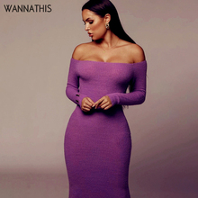 WannaThis Long Sleeve Strapless Women's Dress Off Shoulder Autumn Party Sexy Lady Dress Knitted Cotton Casual Fashion Streetwear