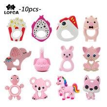 Anneau de dentition en Silicone, pingouin, 10 pièces/lot, pendentif singe, jouet raton laveur, collier girafe pour bébé, Lion, éléphant