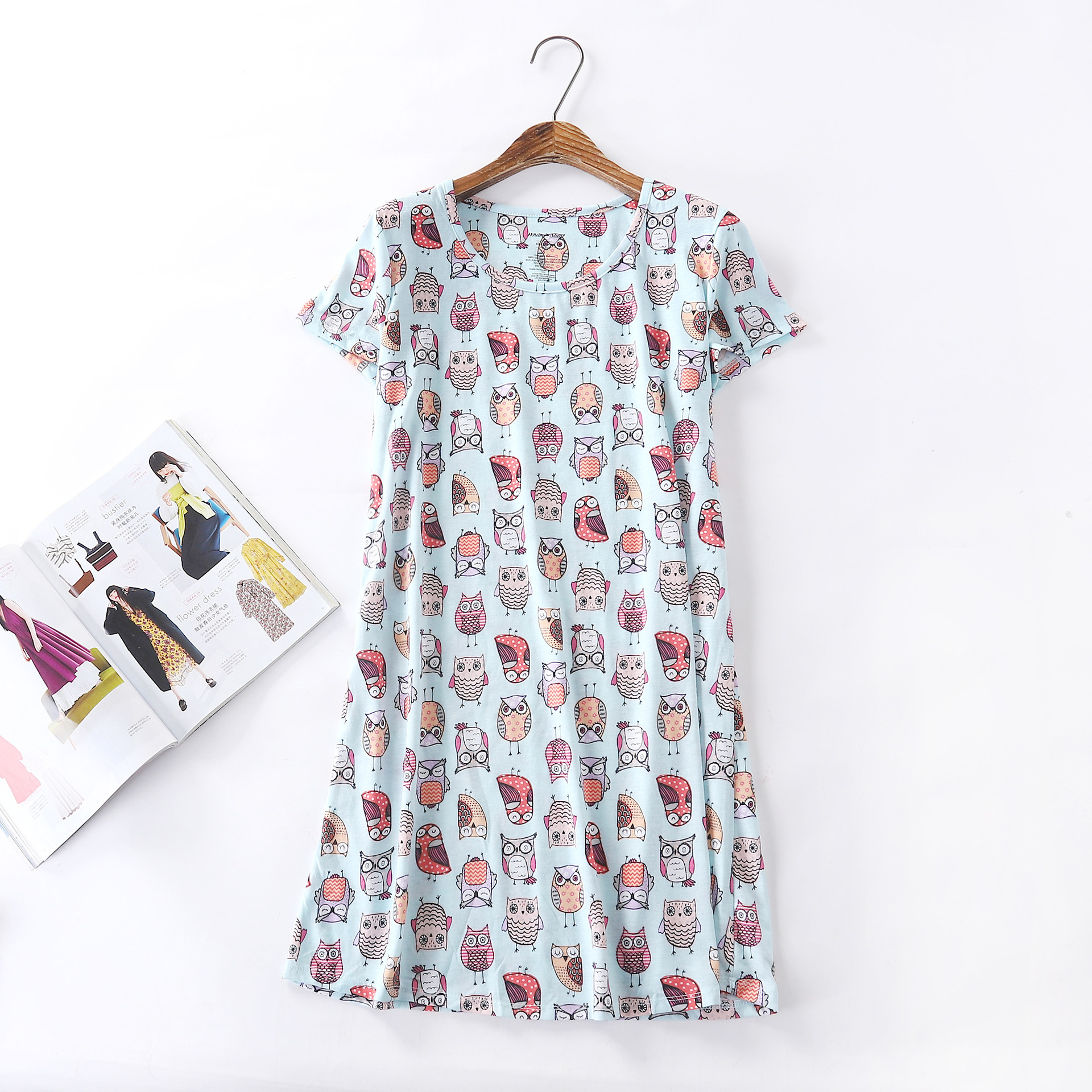 Summer New Style Cartoon Printed Short Sleeve Nightgown Korean-style Large Size Tracksuit Knitted Cotton Cute Pajamas