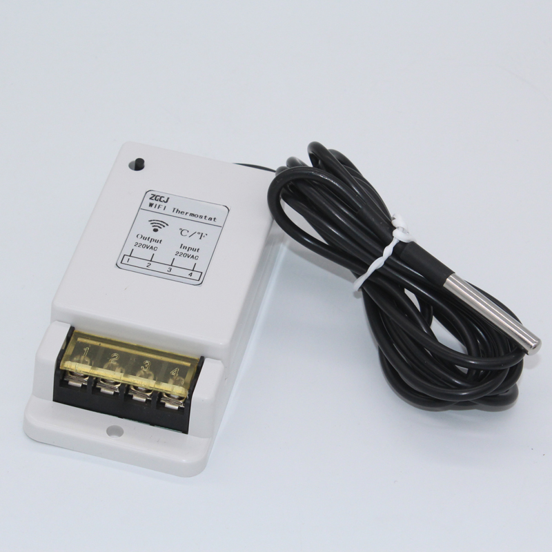 Free App Remote Control Wifi Thermostat -40~125'C Temperature Controller Input 220VAC Output 220VAC With Temperature Sensor