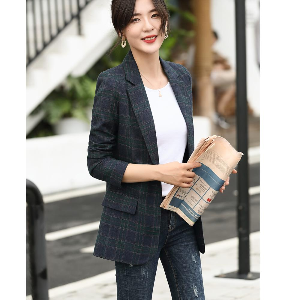 New Female Elegant Formal Fashion Women Plaid Suit Blazers and Jackets Single Button Casual Blazer Coat Dress Costumes Clothing