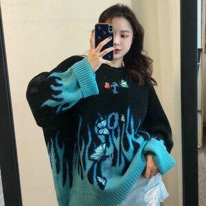 2020 осенне-зимний вязаный свитер в стиле Харадзюку с аппликацией бабочки, Женский пуловер, повседневный свободный свитер для мужчин и женщин...