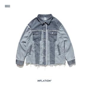 Image 5 - Inflação denim jaqueta masculina solto ajuste jeans jeans jaqueta poker oversized streetwear denim jaqueta em stonewash azul 9717 w