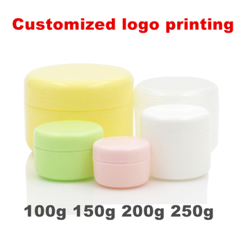 30pcs customized logo printing 100g 150g 200g  250g PP Makeup container jar with Lids and inner lid 3.5oz 7oz Balm unguent Pots