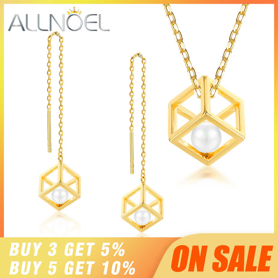 ALLNOEL Real 925 Sterling Silver Real pearl Combination Of Hollow Design Gold Color Necklace Earrings Jewelry sets For Womem