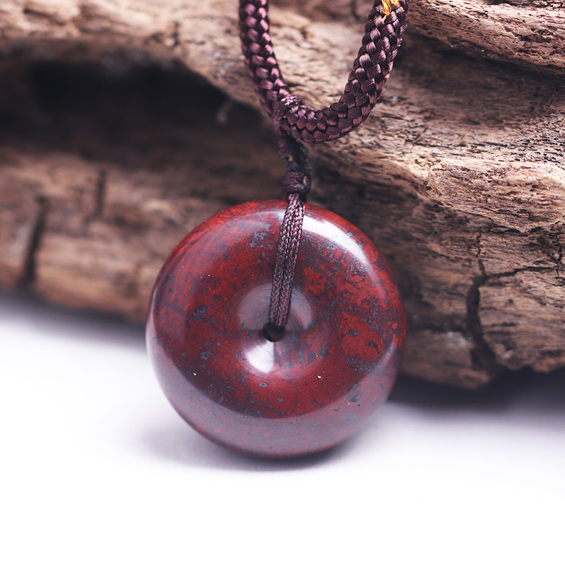 Natural Bloodstone Peace Buckle Pendant Jade Red Jasper Idin Meteorite With Magnetic Nostalgia Pendant