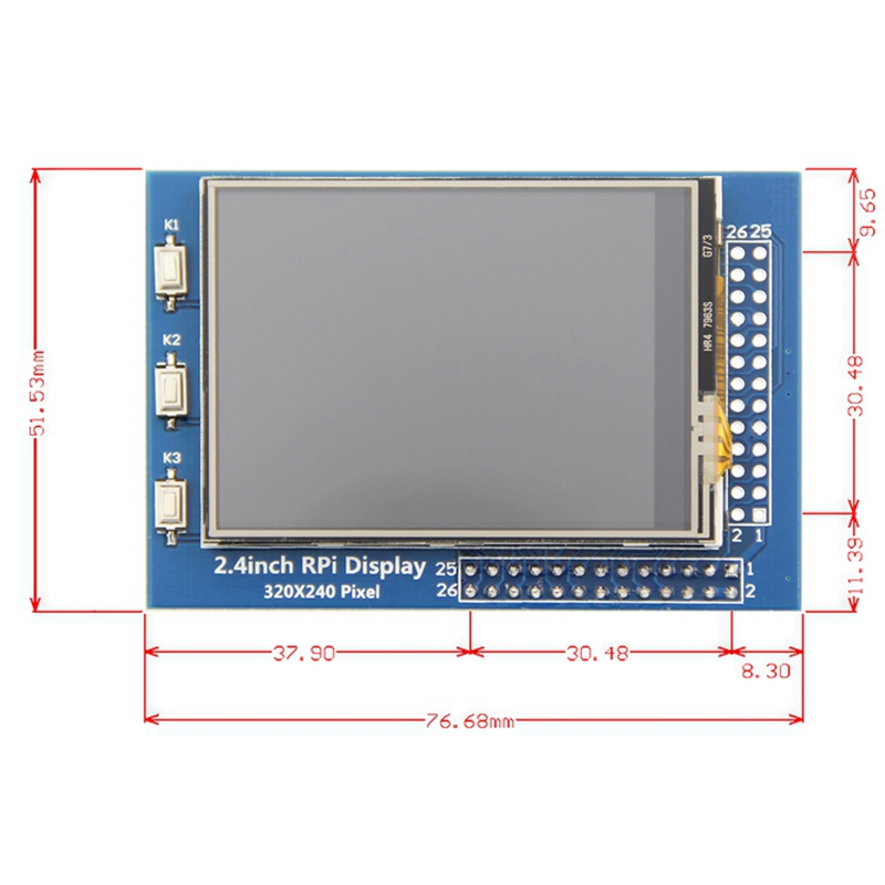 2.4 Inch LCD Press Screen 320x240 TFT Display Screen For Raspberry Pi 4B Raspberry Pi 3 Model B / B+