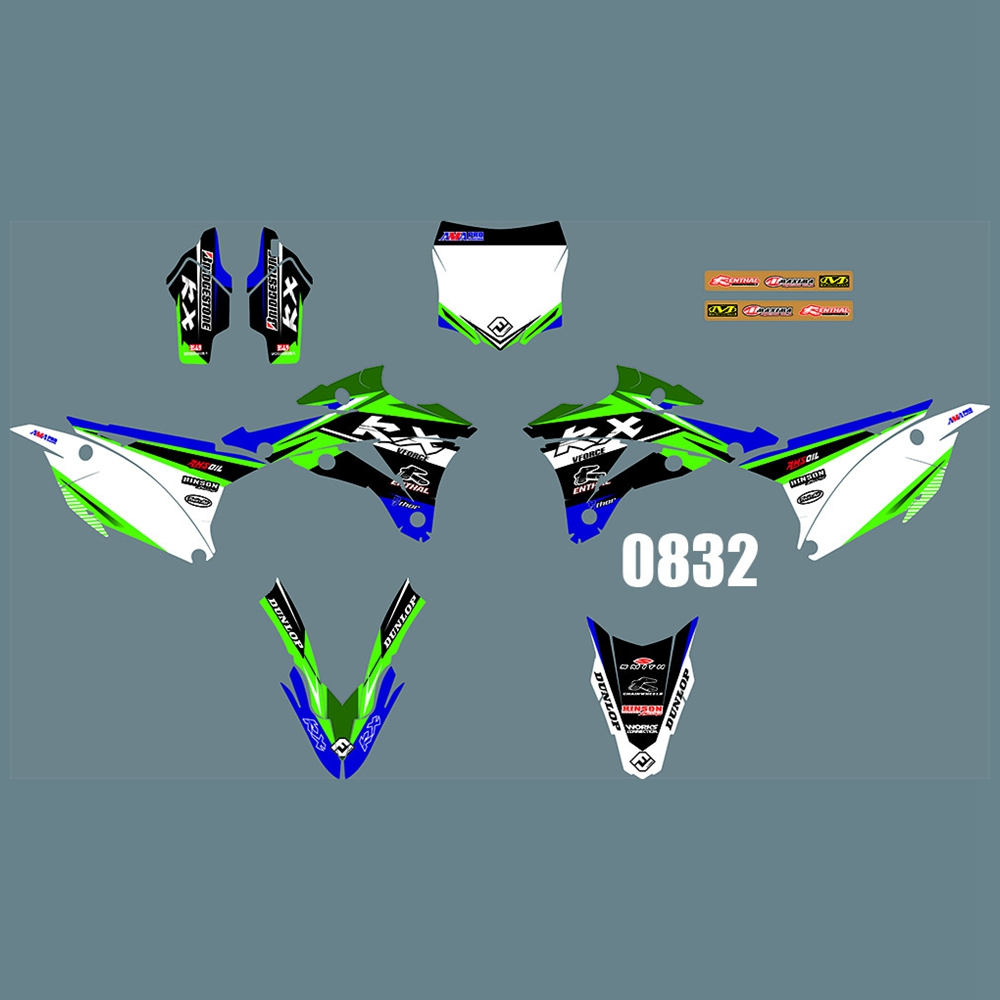 New Full Graphics Decals Stickers Custom Number Name Glossy Bright Stickers Waterproof For Kawasaki KX85 KX100 2014-2018