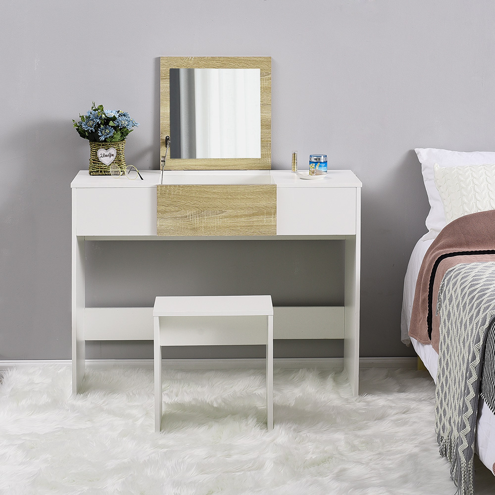 Panana Modern Dressing Table MakeUp Table Furniture With Lift Up Mirror Saving Space Bedroom Dressers Furniture